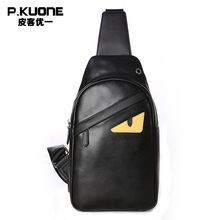 P.KUONE Brand Design One Monster Eyes Chest Pack Bag Men Anime Funny Leather Single Shoulder Bags Chest Bag Male Crossbody Bag