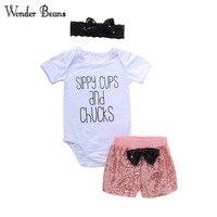 Maravilha Beans Roupas de Menina de Algodão Orgânico Do Bebê Recém-nascido Bodysuit Sequin Curto Headband 3 pcs Set Conjunto de Roupas Infantis
