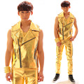 Nightclub Male Singer  DJ hip-hop Punk Style Gold Leather Vest Costume Stage performance wear men's leather pants