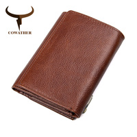COWATHER Men Wallet Top Cow Genuine Leather High Quality Male Purse Antimagnetic Wallets For Men Male