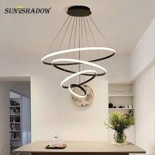 Hot Selling Modern Led Chandelier For Living room Dining Kitchen Bedroom Luminaires Black&White Ceiling Lighting