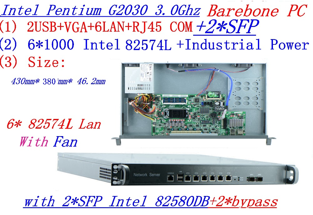 6INTEL G2030 3.0Ghz 1U Rack Type Firewall Server With 6*1000M 82574L Gigabit LAN 2*bypass Support ROS/RouterOS Etc Barebone PC