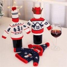 Botella de vino con sombreros cena Mesa decoraciones Santa Claus muñeco de nieve ciervo botella cubierta Ropa Decoración para regalos de navidad