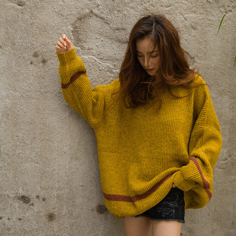 Knitted Oversized Round Neck Loose Sweater Tops Casual Fashion Pull Soft Full Sleeve Pull Femme Autumn/Winter Sweaters TT3426 ...