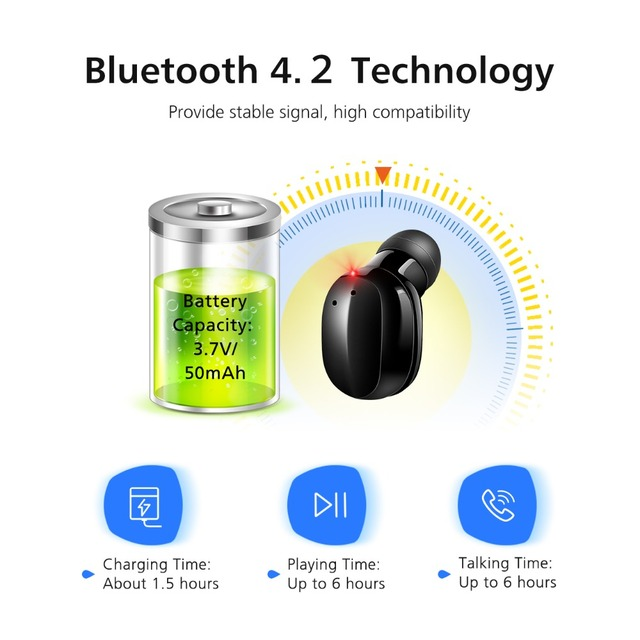VTIN Portable Wireless Earphone Hands Free Calling Bluetooth Earbud Ergonomic Touch Control Earphone With EVA Case For iPhone 2