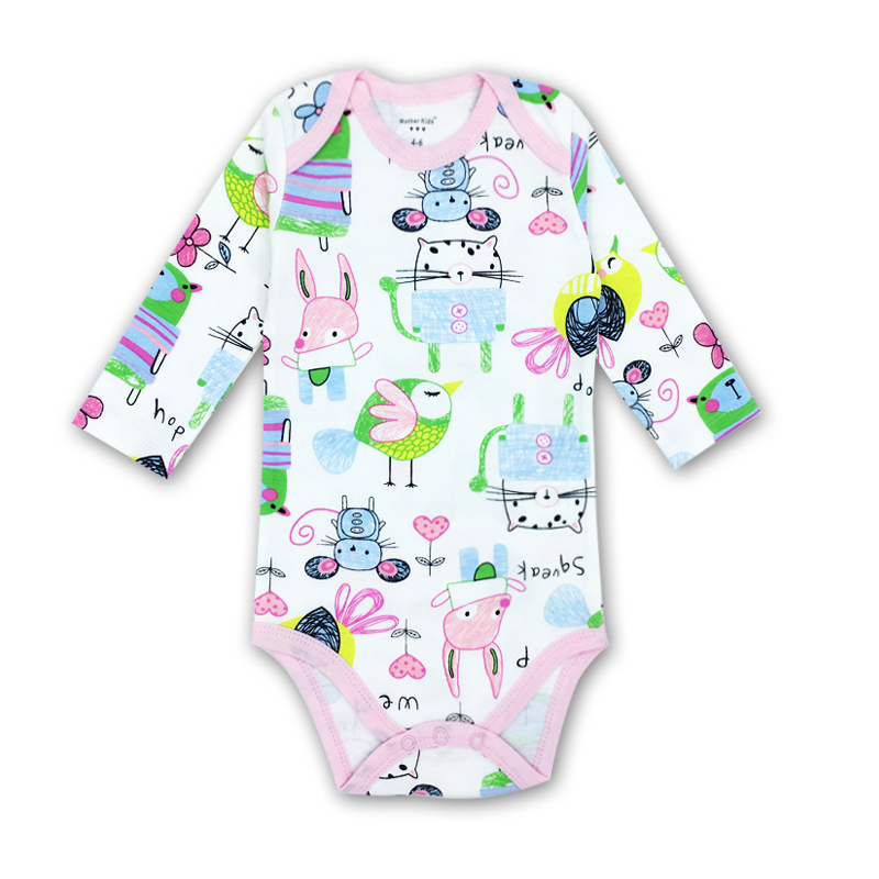 0-2 Year Baby girl Clothes O-neck Baby Rompers daughter Vestido Infantil Newborn Girl Long Sleeve Baby Cartoon picture print