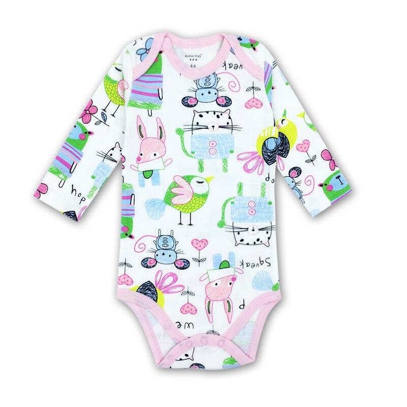 0-2 Jaar Baby Meisje Kleding O-hals Baby Rompertjes Dochter Vestido Infantil Pasgeboren Meisje Lange Mouw Baby Cartoon Foto Print