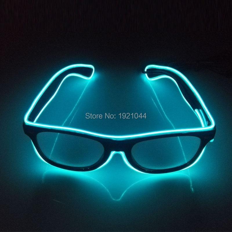 새로운 10 색상 선택 EL 와이어 글로우 태양 안경 네온 주도 DJ 밝은 빛 안전 조명 파티 장식을위한 여러 가지 빛깔의 조명