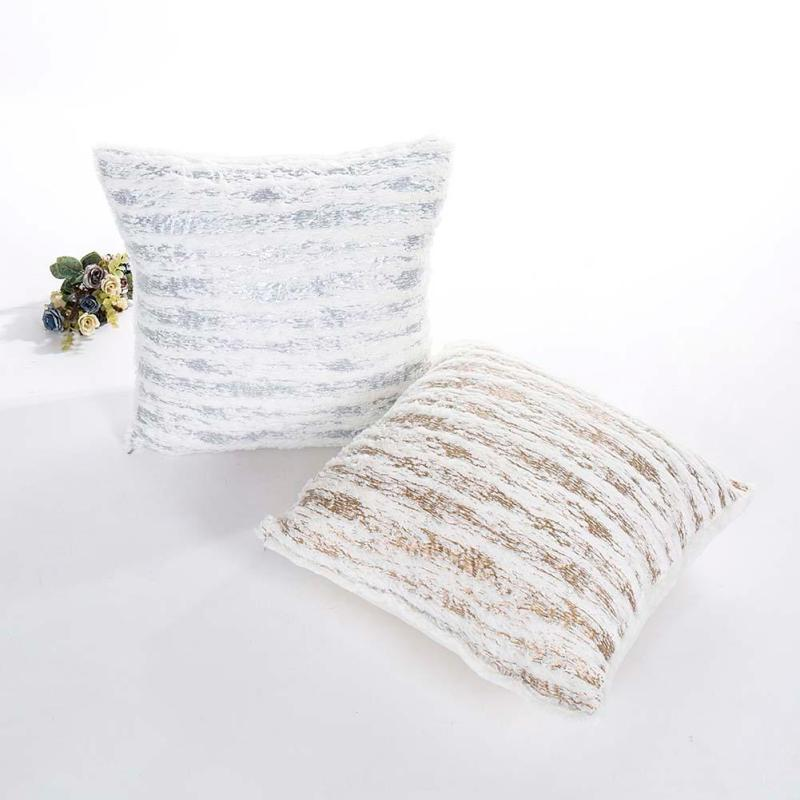 Nordic Stripe Bronzing Cushion Cover Pillows Decorative Easter Pillowcase 45*45 For Sofa Seat Throw Home Decor Almofada S2