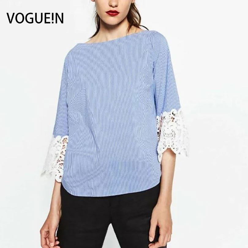 VOGUE!N New Womens Fashion 3/4 Lace <font><b>Mix</b></font> Sleeve <font><b>Striped</b></font> Print Pullover Blouse <font><b>Tops</b></font> Shirt Size SML