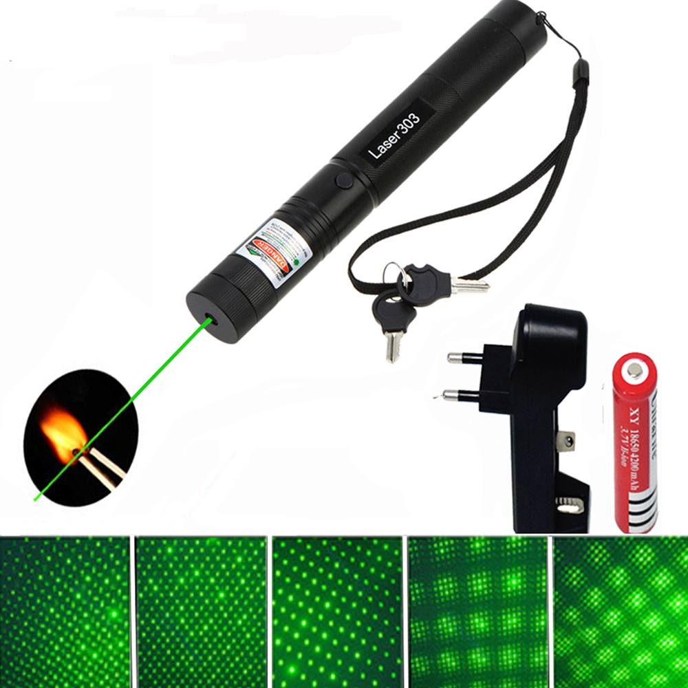 Green Laser 303 Pointer Lasers Sight High power device 532nm 10000m Adjustable Focus Lazer pen with +Charger+18650 Battery
