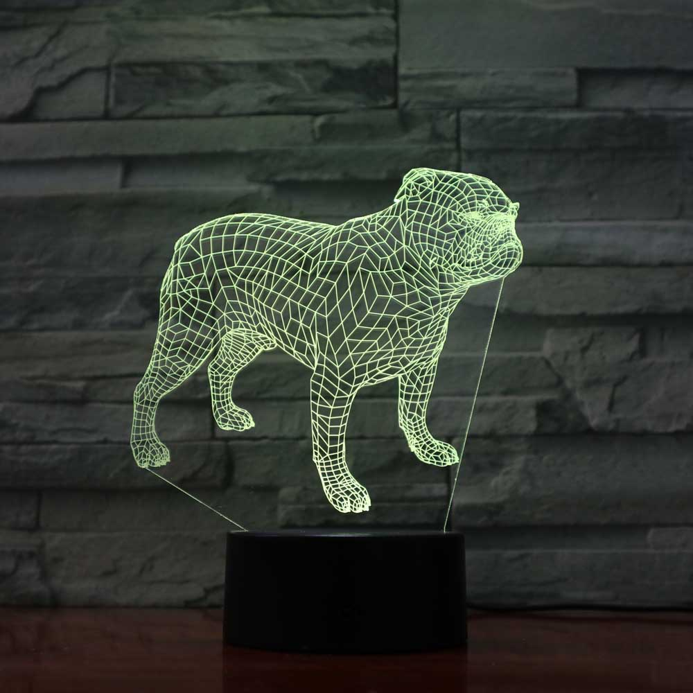 Led Touch Button Creative 3D Put Modelling 7 Colors Changing Animal Dog Table Lamp Atmosphere Night Light Home Decor Light Gifts