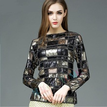 Wholesale sexy Square grid sequins temperament beading wild sexy lace Shirt 2017 new fashion Elegant sweet Casual Shirt w1578
