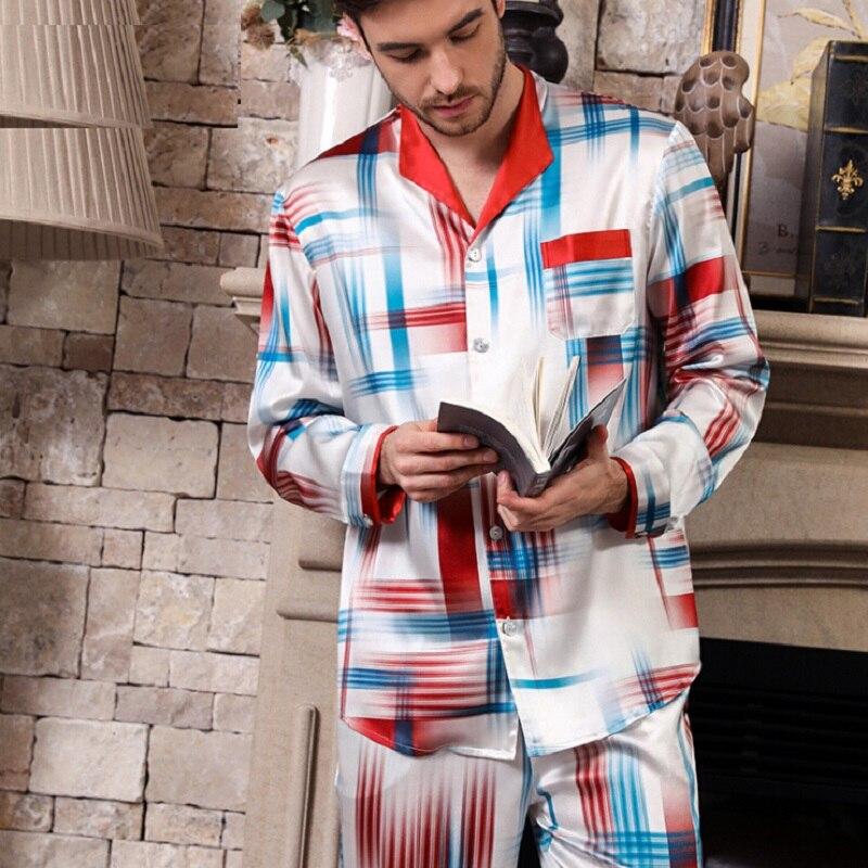 Pyjamas Set Silk Stain Men 2019 Summer Long Sleeve And Full Pants Pijamas Plus Size Night Suit For Man Sleepwear Night Wear Male