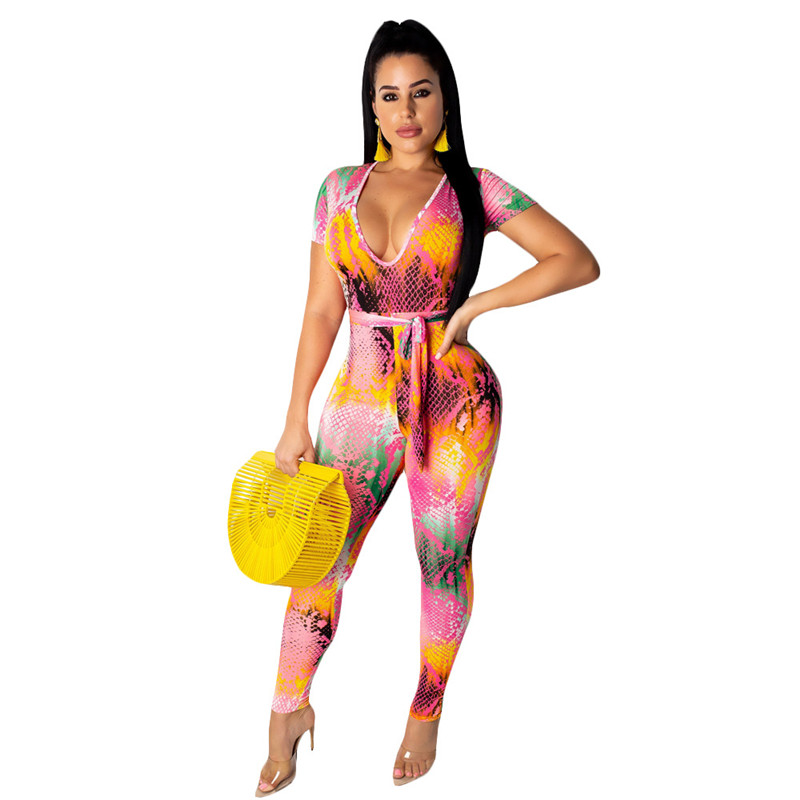 Adogirl Tie Tye Snakeskin Print Bandage Jumpsuit Women Sexy V Neck Short Sleeve Slim Romper Night Club Party Overalls Bodysuits