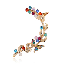 Bohemia Colorful crystal leaves Clip Earrings Left Right Ear cilp Gold Silver Ear Cuffs Earring Jewelry FY082