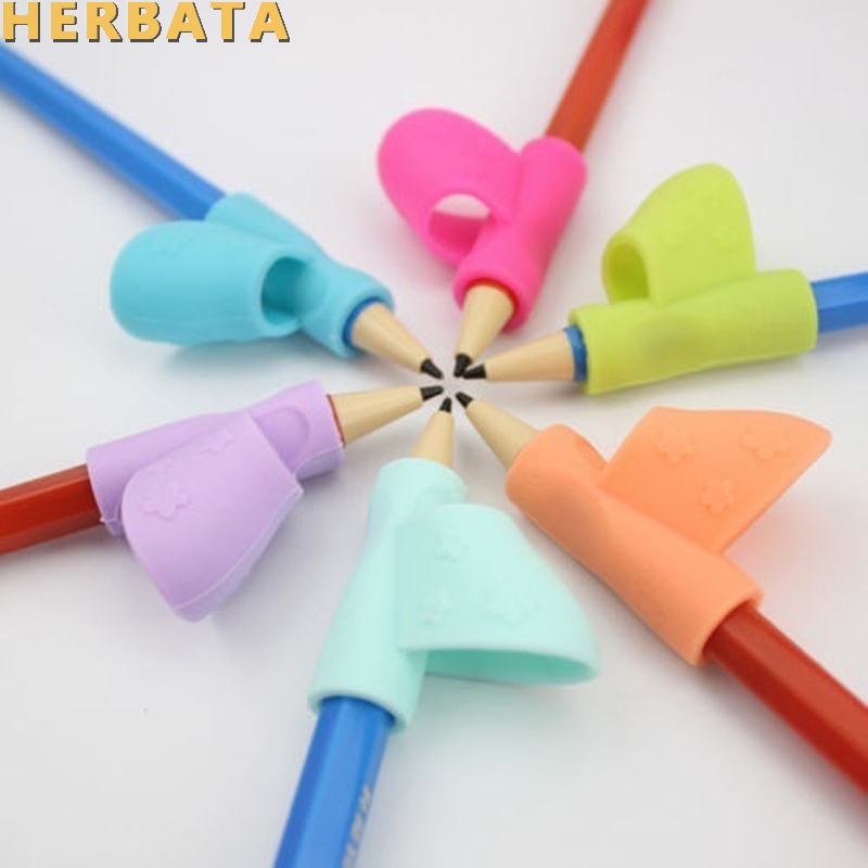 3Pcs/Set Children Pencil Holder Correction Writing Hold Pen Grip Posture Tool Silicone Writing Posturecorrector Stationery 2530