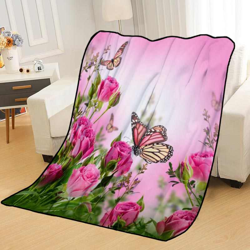 Personalized Blankets Custom Butterfly Blankets for Beds Soft TR DIY Your Picture Dropshipping Throw Travel Blanket