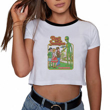 Модная футболка гранж эстетические Забавные футболки с графикой женская одежда Модная белая футболка летний сексуальный укороченный топ Повседневный короткий рукав