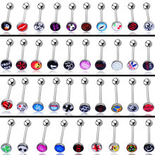 Send in Random 2 pcs/lot 1.6*18mm Sexy Tongue Piercing langue Oil Grip 14G Body piercing Tongue Rings Surgical Stainless Steel(China)