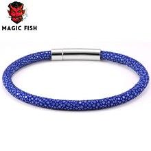 2016 Men Blue Python Leather Bracelet With Silver Magnet PU Python Stingray Watch Brand Genuine Leather Strap Bracelets Women цена 2017