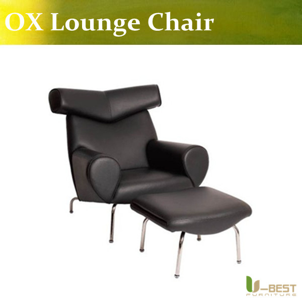 U-BEST lounge chair furniture replica hans j wegner ox chair,CH205 Creative  black leather OX Lounge Chair with Ottoman u best high quality ox chaise lounge original ox lounge chair with ottoman ox chair leather ox chair
