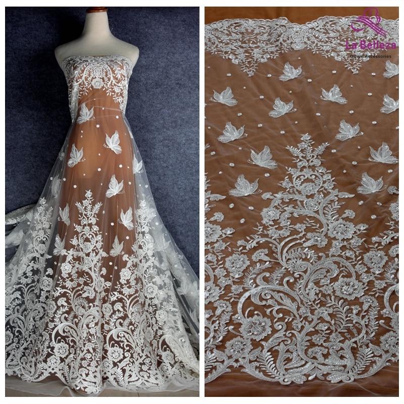 La Belleza off white Butterflies flowrs beaded embroidery bridal lace fabric 51 width 1 yard