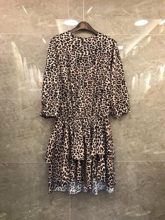 Pour Rond Été print Feuille Robe Nouveau Leopard À 2009 Et Longues Femme Avec Lotus Skirt0309 Col Manches Printemps UgAYx4