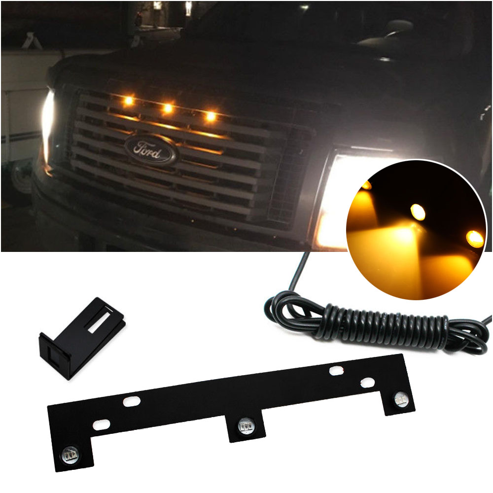 Perfect Fit Raptor Style Amber LED Grille Lights w Bracket For 09 up Ford F150