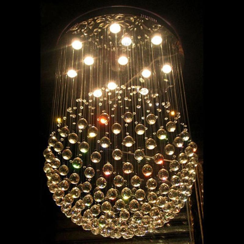 12 LED Bulbs D80CM H120CM Staircase Modern Crystal Chandelier Round sphere Pendant Lamp RainDrop Hanging Light lighting GU10