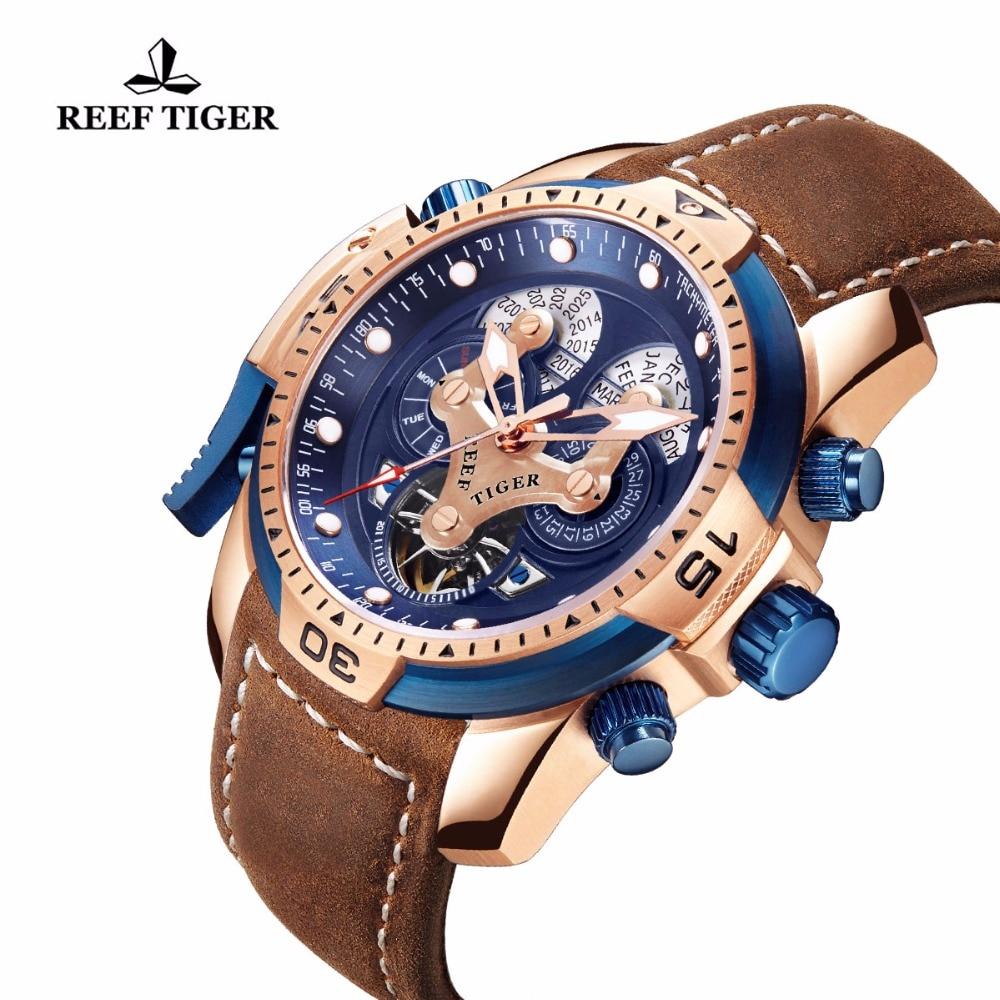 Reef Tiger / RT Marka zegarki wojskowe dla mężczyzn Rose Gold Blue - Męskie zegarki - Zdjęcie 3