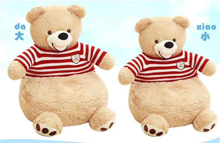 Новые творческие плюшевые красные в полоску свитер медведь Диван прекрасный Американский медведь татами подарок