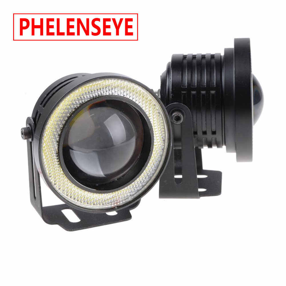 Car 1 Set 3.5 3.0 2.5 inch COB Angel Eyes Fog Lights Led Car Headlight Lamp DRL Universal Daytime running light 89mm 76mm 64mm