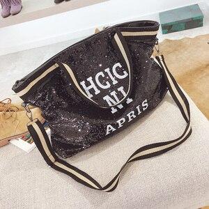 Image 3 - スパンコール女性のバッグ印刷文字女性大容量トップハンドルバッグ女性のハンドバッグ国家カジュアルトートガールメッセンジャーバッグ