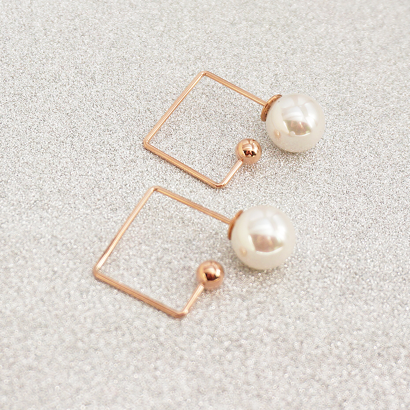 YUN RUO Elegant Rose Gold Color Square Pearl Stud Earrings for Woman Girl Prevent Allergy 316L Stainless Steel Fashion Jewelry