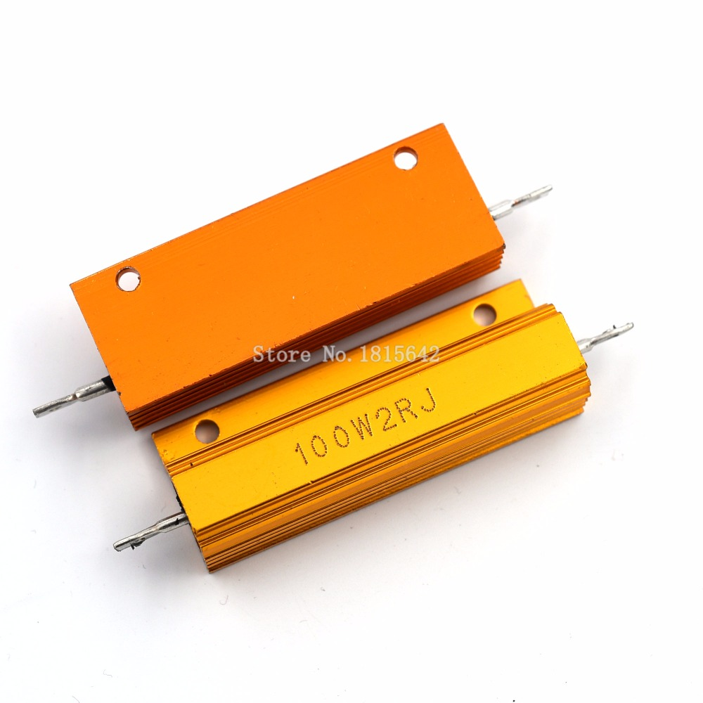RX24 100W 2R 2RJ 100 Watt Metal Shell Aluminium Gold Resistor High Power Heatsink Resistance Golden Heat Sink Resistor 2 Ohm