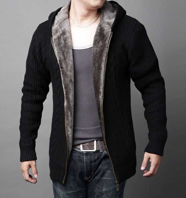 Winter Sweater Male Thickening Plush Knit Cardigan Sweater Slim Even Cap Cashmere Sweater Large Size Winter Sweater Coat 2019