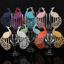 120pcs/lot Classic Peacock Place Wine Glass marker Table Name Card Wedding Party Decorations wd136