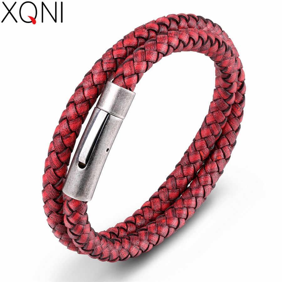 XQNI 彫刻ロゴ DIY カスタムブレスレット 3 サイズマルチカラー男性の革織スタイルバレンタインの日ギフト
