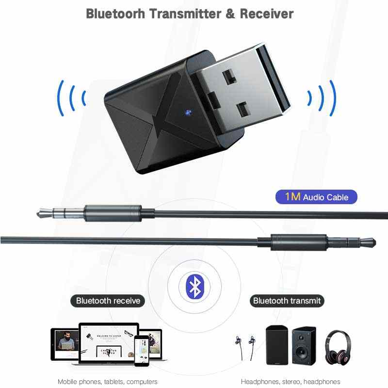Rovtop 2 in 1 Stereo Bluetooth Audio Receiver & Transmitter 3.5mm AUX Bluetooth Transmitter Wireless Adapter For TV PC Car Z2