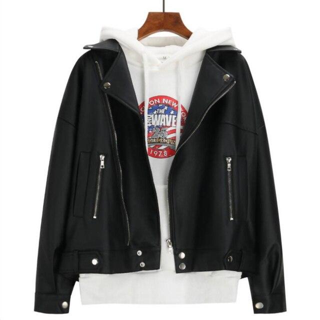 2019 New Arrival Women Autumn Winter Leather Jacket Oversized Boyfriend Korean Style Female Faux Coat Outwear Black 4