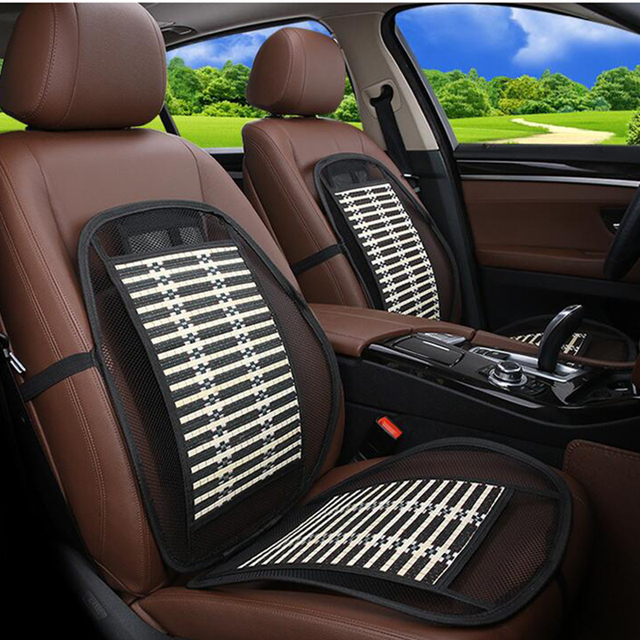 Black Ice Silk Car Seat Lumbar Support Summer Breathable Covers Office Chair Cushion Pad