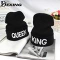 [Dexing]2016 new black knitted  letter embroidery king queen cap for men women hip hop  bonnet skullies beanies outdoor chapeus