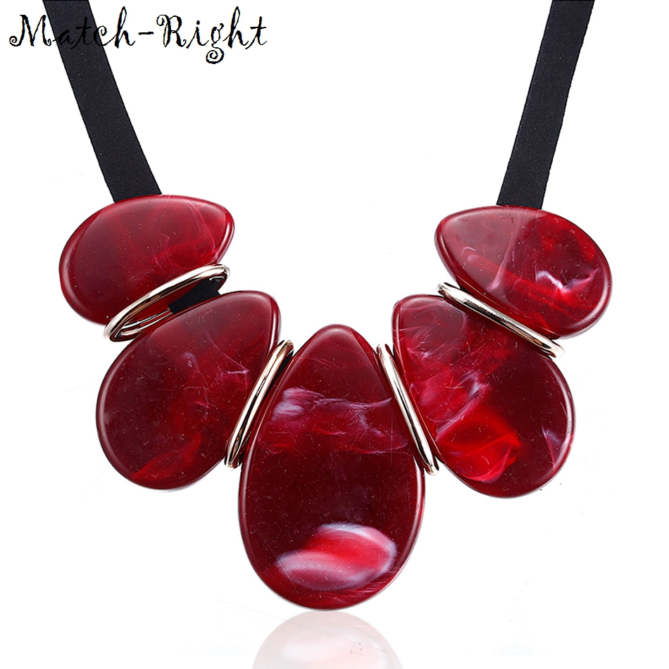 Match-Right Trendy Women Geometric Necklaces & Pendants Statement Necklace with Acrylic Pendant for Women Jewelry SP060 chic faux gem embellished geometric necklace for women