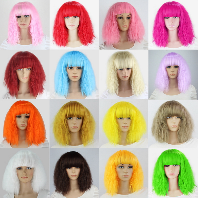Fluffy Red Pink White Orange Green Blonde Brown Curly Wig Synthetic Hair Anime Cosplay Halloween Costume Party Wigs For Women