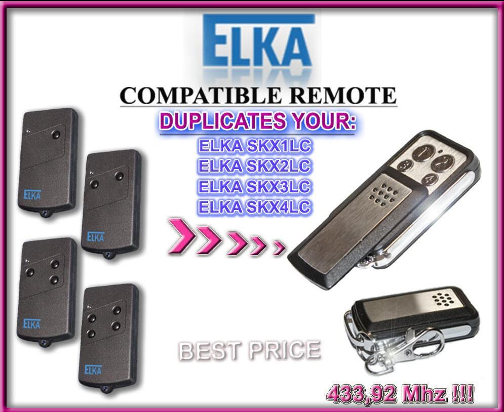 2pcs ELKA SKX 433.92Mhz 4 Button Garage Door Remote Copy/Duplicator 2pcs rib sun t433 2ch 4ch 4 button garage door hand remote key copy duplicator fixed code