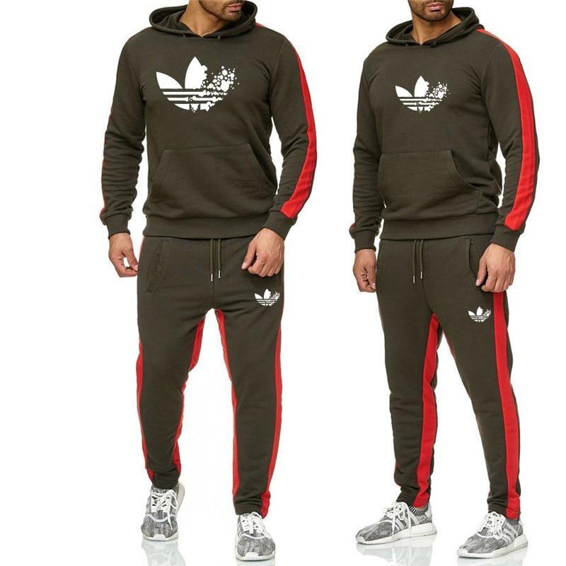 New 2019 Brand Tracksuit Fashion Men/Women Sportswear Two Piece Sets All Cotton Fleece Thick Hoodie+Pants Sportswears Suit