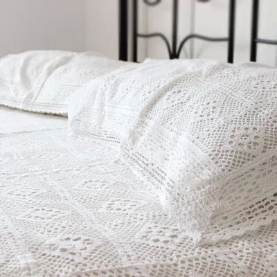 100% Cotton Handmade Crochet Bedspread With Pillowcases Crocheted Coverlets Bed  Linen White Lace Bedding Sets Fast Delivery In Bedding Sets From Home ...