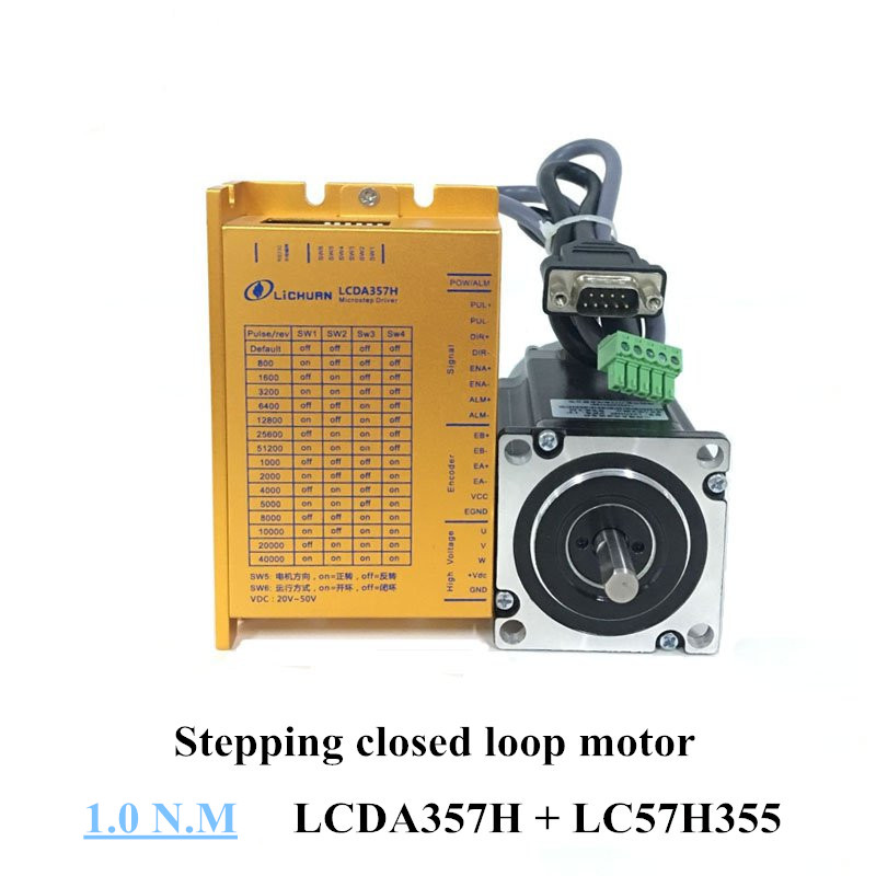 Nema 23 closed loop stepper motor kit 1N.m 57 motor LC57H355 and LCDA357H 3 phase 7A 200KHZ stepper motor driver closed loop 2n m nema 23 2 phase step servo driver kit stepper driver 2hss57 motor 57j1880ec 1000 sm742 sd
