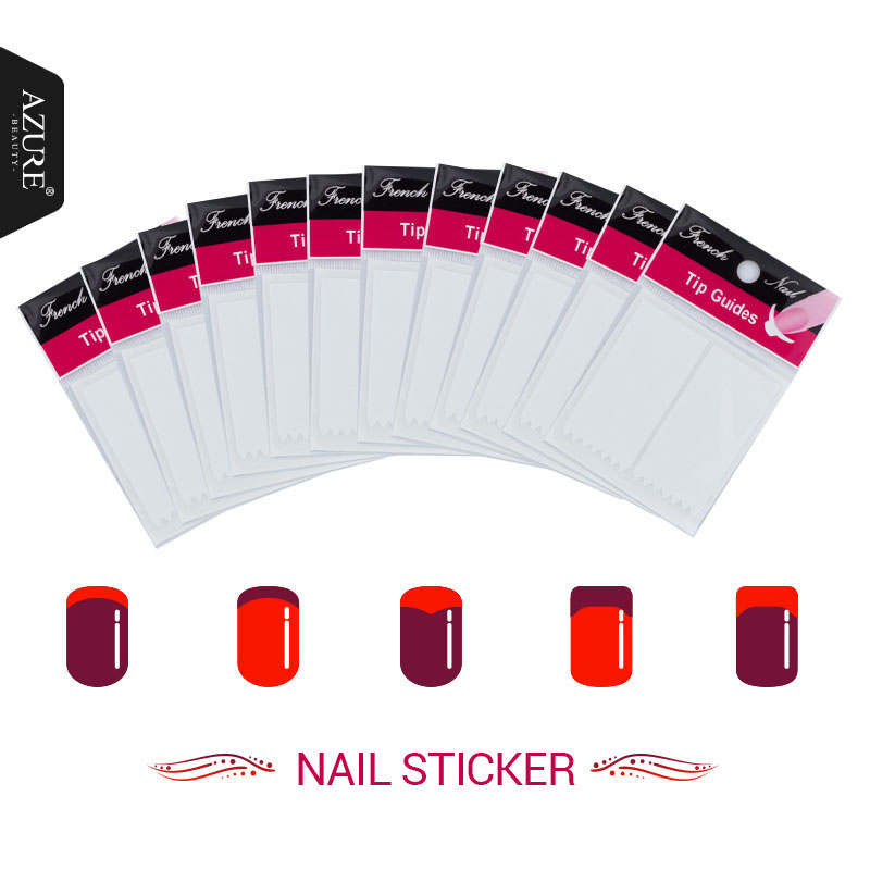 ≧Azure Beauty 12Pcs/lot Nails Sticker Tips Guide French Manicure ...
